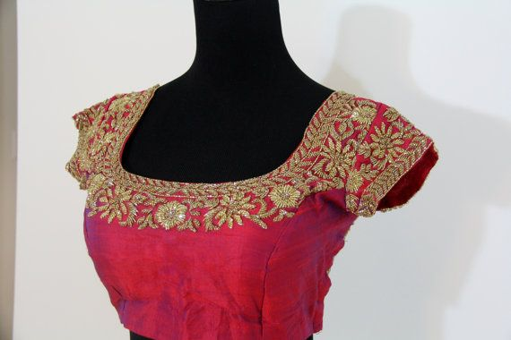 Wine blouse with all over double layer kutdana work by Brioka