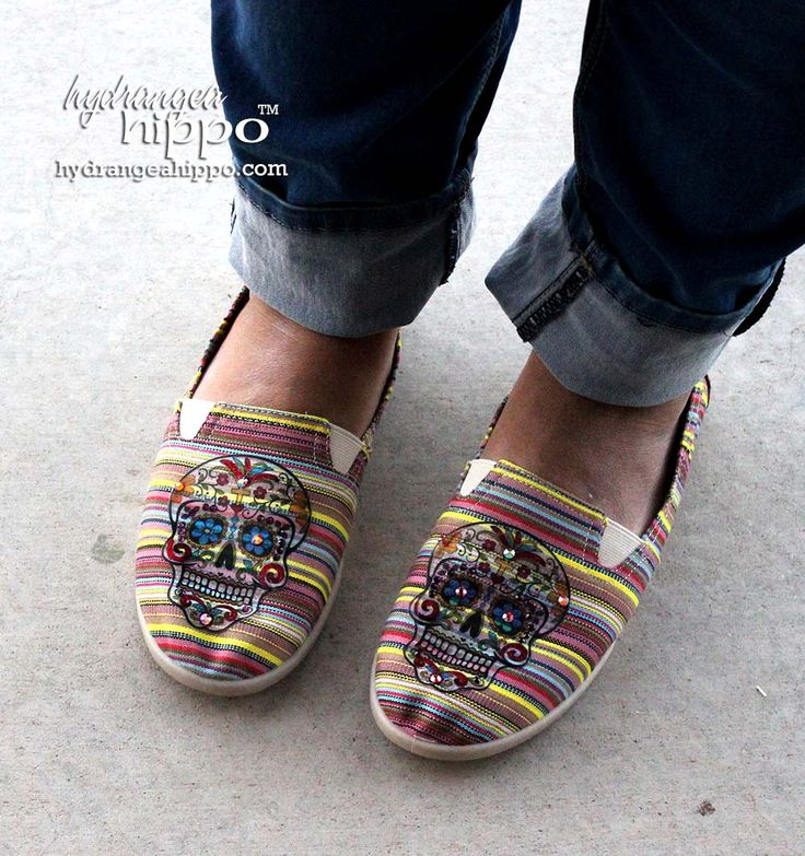 Toms...Skulls... crystals and glitter ... yeah Katie loves em! Check out how I took knock-off Toms from Payless ShoeSource and made them cool with Sugar Skulls graphics and Craft Attitude printable film! http://hydrangeahippo.com/sweet-sugar-skull-knock-toms/