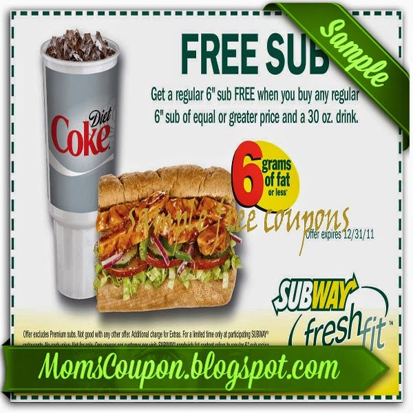 printable Subway coupon code February 2015