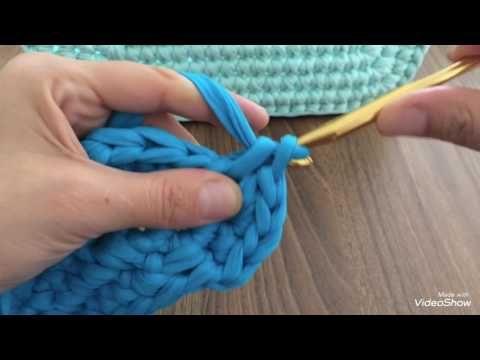 Penye ip ile dikdörtgen sepet yapılışı - YouTube