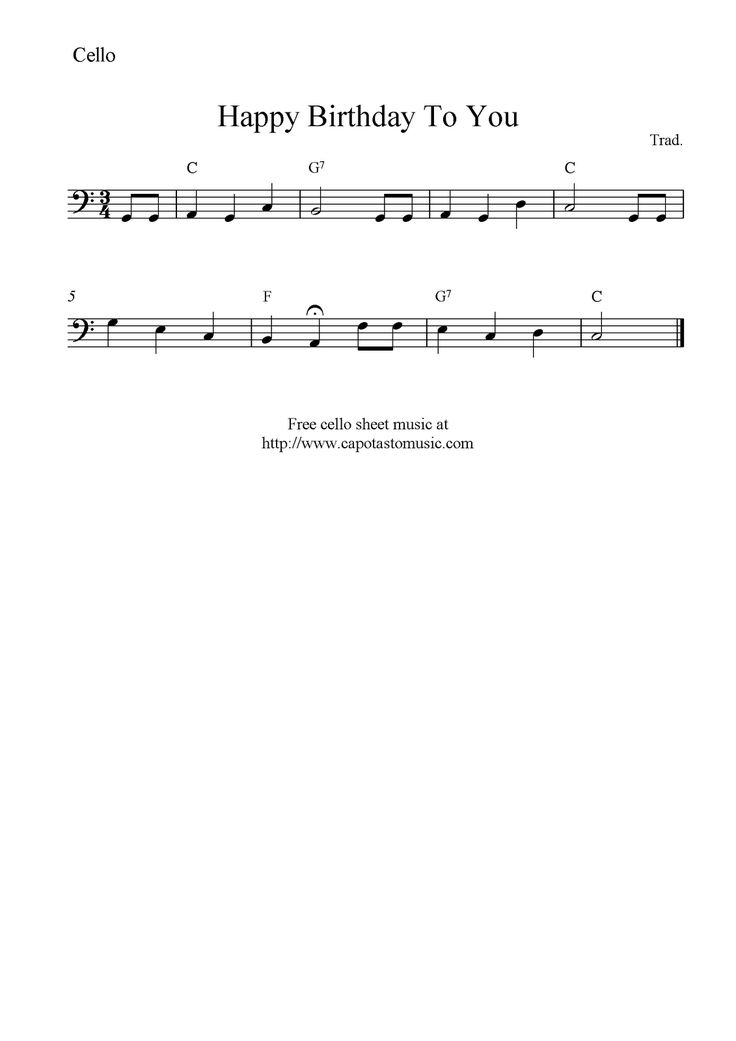 Happy Birthday To You, free cello sheet music notes