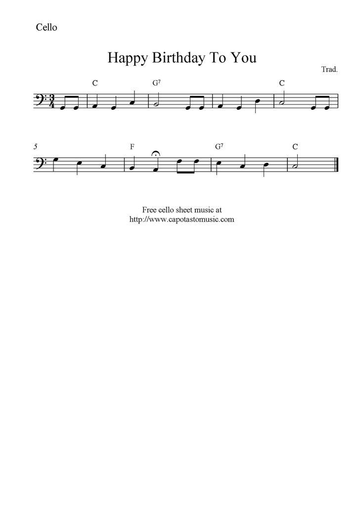 Happy Birthday To You, free cello sheet music notes