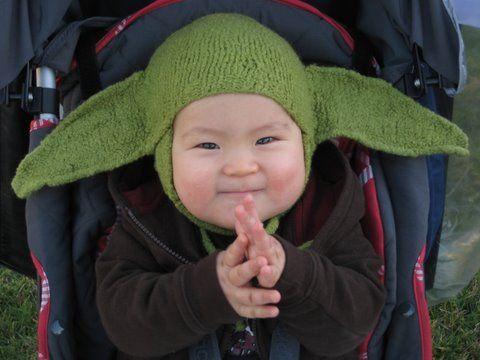 A felted baby Yoda hat