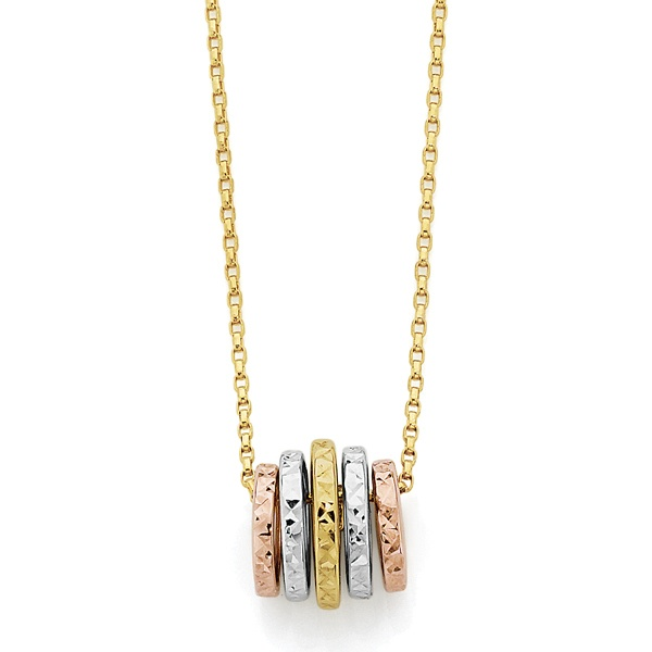 Five golden rings of friendship - 9ct Gold Necklace