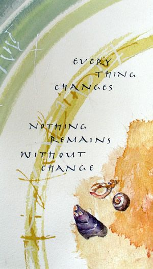 Tideline   Celia Lister: Buddhist expression, watercolor; acrylic, folded pen and nibs; Saibouku ink Talrijke mooie creaties...