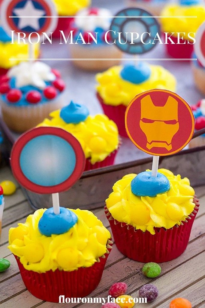 Celebrate the opening of Captain America: Civil War with these Iron Man Cupcakes #ad via flouronmyface.com