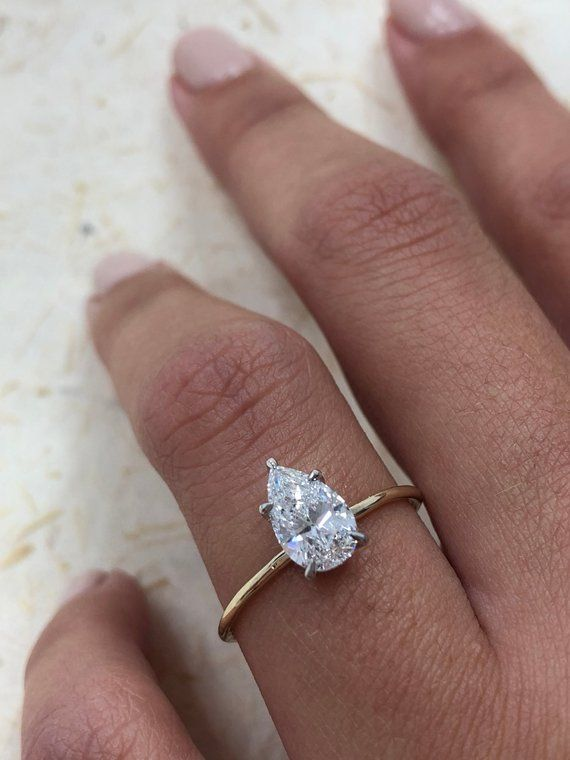 Diamond Engagement Ring, 1.02 Carat Pear Shape Solitaire Diamond Ring in 14k Yel…