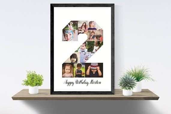 ◆Number 2 Photo collage, Second birthday gift, Custom anniversary baby collage, PRINTABLE number two◆  This beautiful photo collage in number 2 is custom made for you. Perfect for a birthday gift or a second anniversary. Filled with pictures you like. The collage is made by me, it