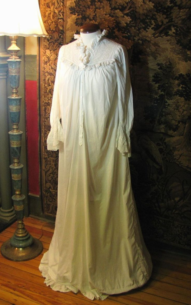 Beautiful Long Victorian Nightgown Lavished With Lace