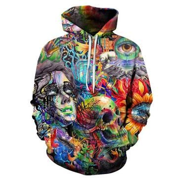 Paint Skull 3D Printed Hoodie Sweatshirts Men + Women