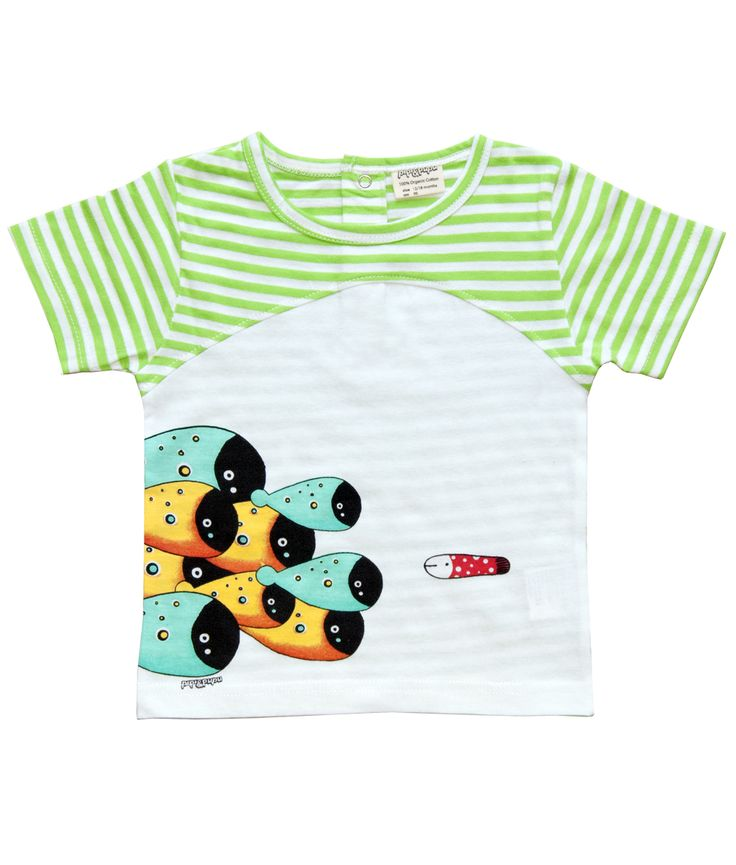 White and green stripe short sleeve baby T shirt with school of fish print.  100% soft organic cotton. Includes packaging which makes this tee a great gift!  Unisex regular fit.  PIPI & PUPU kids(art)wear - Playful quality organic cotton for kids  Illustrators are our heart and soul!  ...