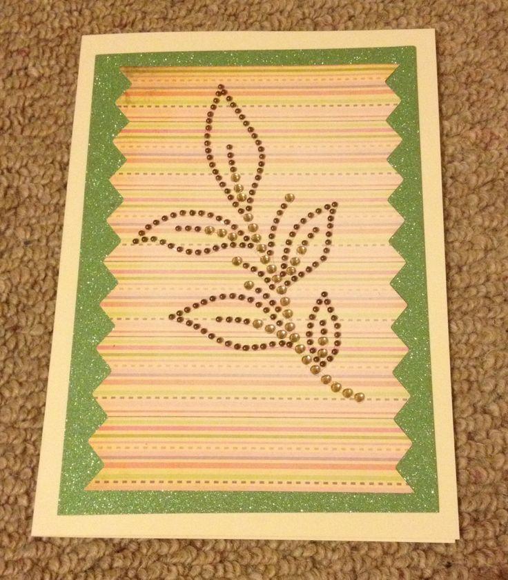 Striped 3d leaf handmade card