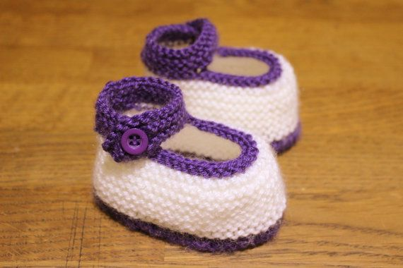 Infant ShoesPurple BootiesBaby Mary JanesBaby Girl by Pinknitting