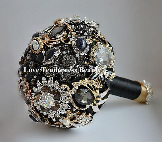 "SALE!!! 7"" Black Brooch Bouquet, Black and Gold Silver Wedding Bouquet, Bridal Bouquet, Jewelry Bouquet, Crystal Gothic Wedding Bouquet"