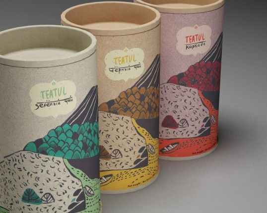 """Teatul: """"The brief was to create a package for three varieties of tea (black, green and hibiscus). Natural, eco-friendly colors and textures were used requiring less energy and chemicals. Designed with the utmost care of nature in mind."""""""