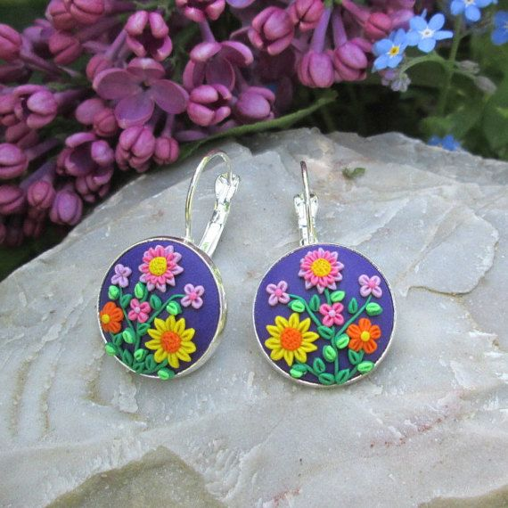 purple polymer clay earrings purple flower fashion style boho hippie gift for her vintage beautiful unique yoga jewelry by FloralFantasyDreams