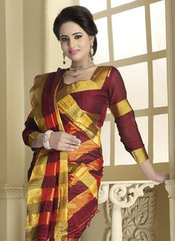 Tamanna 2008 - Maroon and Multicolor Daily Wear Traditional Cotton Saree