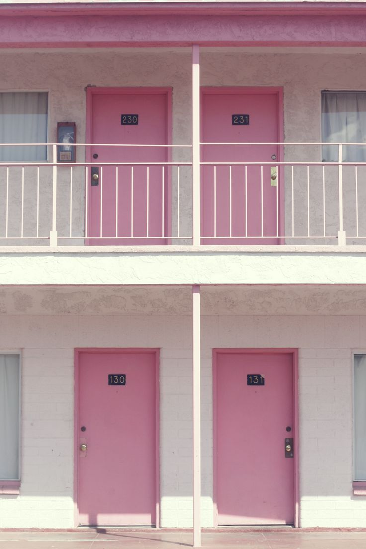 Pink motel doors in Las Vegas