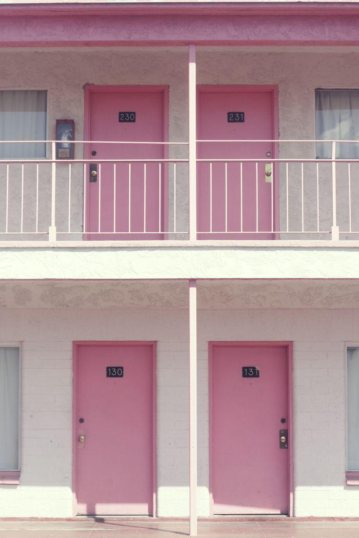 Pink motel doors in Las Vegas