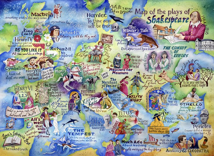 A painting of all of the plays of William Shakespeare in their approximate locations on a map of Europe.