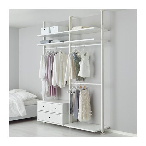 IKEA - ELVARLI, 2 section shelving unit, You can always adapt or complete this open storage solution as needed. Maybe the combination we've suggested is perfect for you, or you can easily create your own.Adjustable shelves and clothes rails make it easy for you to customize the space according to your needs.If you need more space at the top, move both the shelf and clothes rail down.Drawers with integrated dampers close slowly, silently and softly.You choose if you want to place the open…