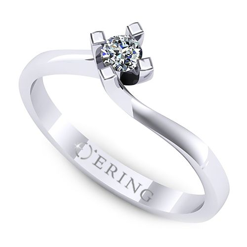 Inel de logodna realizat din aur alb, cu diamant de 0.08 ct. Profita de pretul redus!