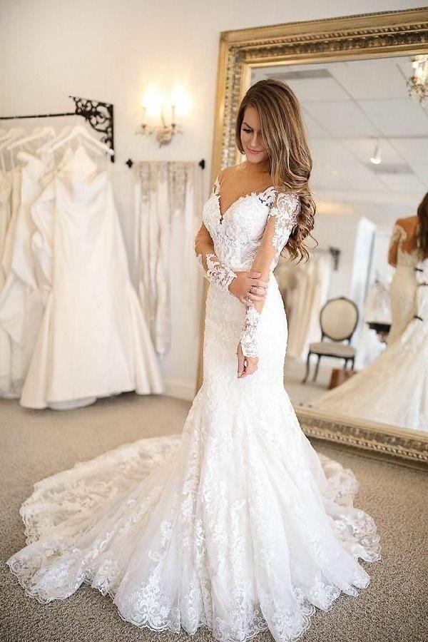 Plunging V-neckline Tulle Mermaid Wedding Dresses Long Sleeves Wedding Dresses #…