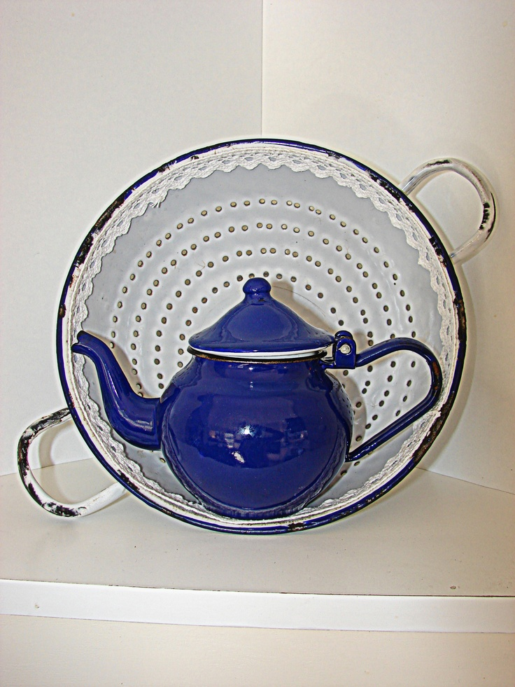 Blue teapot from Hungary.