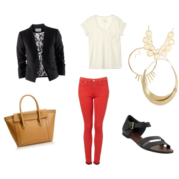 Love this outfit...but I may need a different body to pull off coral jeans on my bottom half...