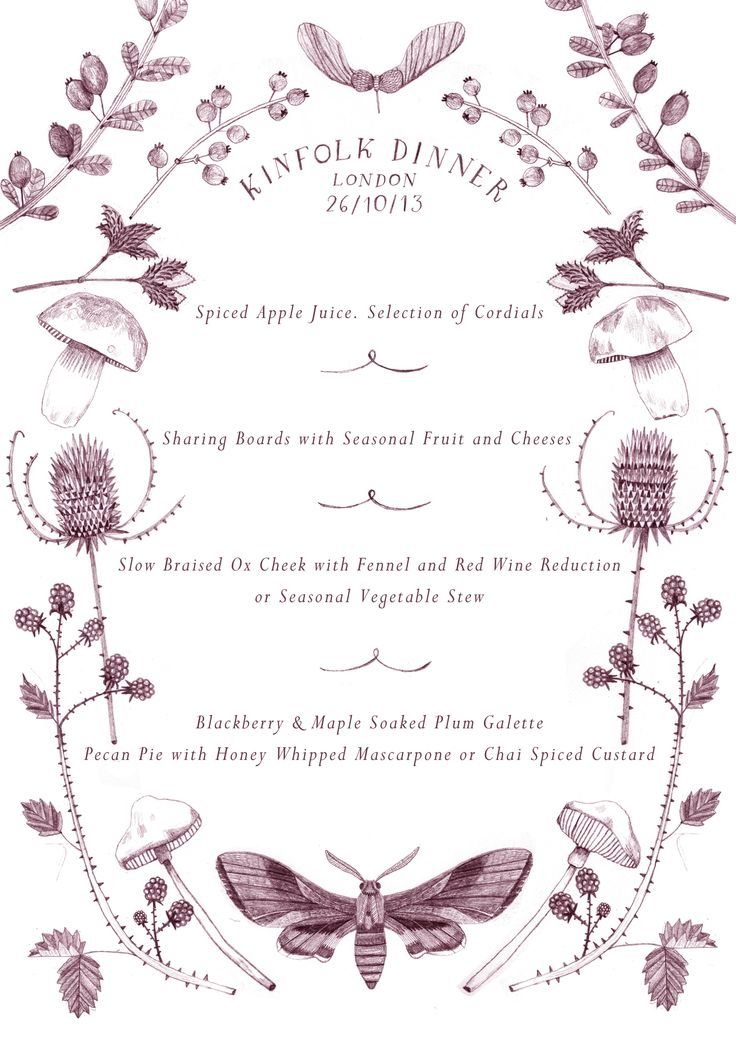 menu design for the London Kinfolk gathering. Lucy Panes