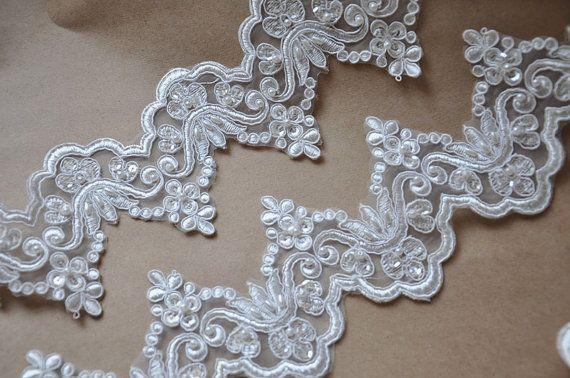 Ivory Lace Trim, Alencon Lace Trim, Sequin Lace with Pearl , Bridal Veil , Wedding Veil