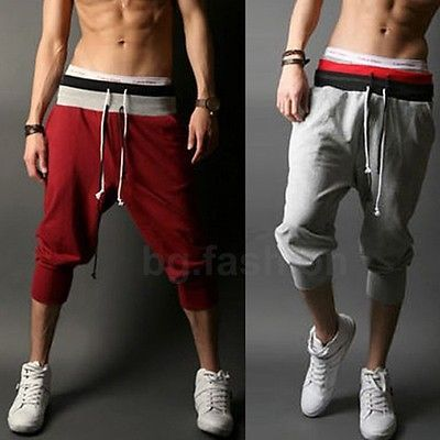 Mens Sports Gym Jogger Loose Casual Shorts Harem Pants Trousers 4 Color M-XXL in Clothes, Shoes & Accessories, Men's Clothing, Trousers | eBay