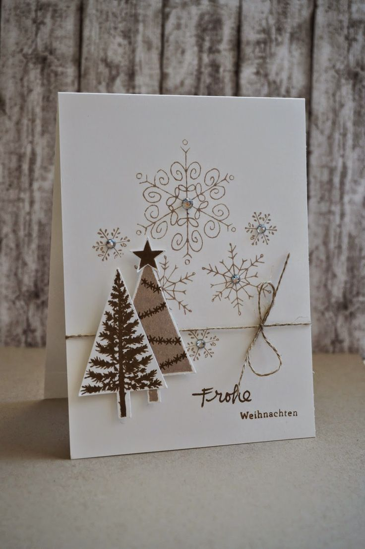 Stampin' Up! ... handmade Christmas card from Villa Kreativa ... vanilla base with kraft stamped snowflack ... simple linen bow ... stamped and punched triangle trees ... light and bright in neutrals ...