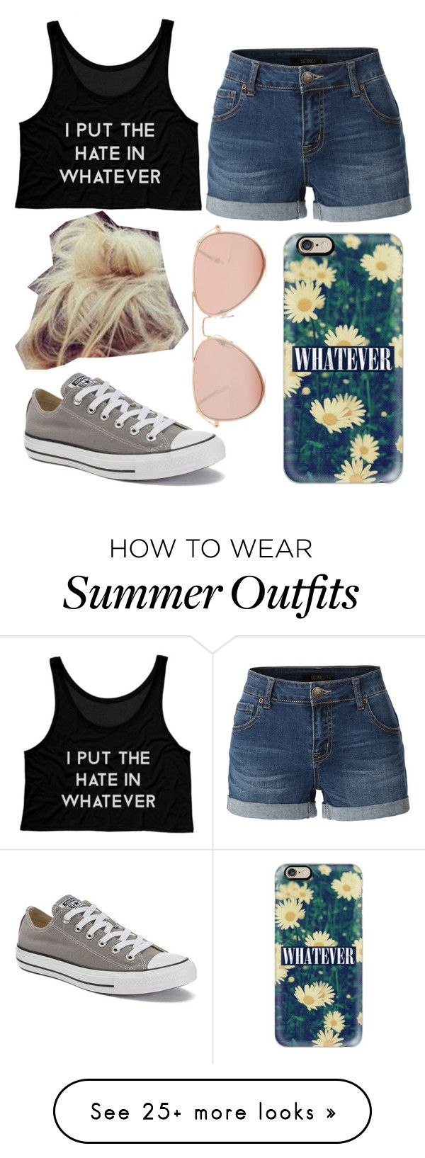 """""""Summer Outfit #1"""" by hernaenae on Polyvore featuring Converse, Casetify, LE3NO and Betsey Johnson"""