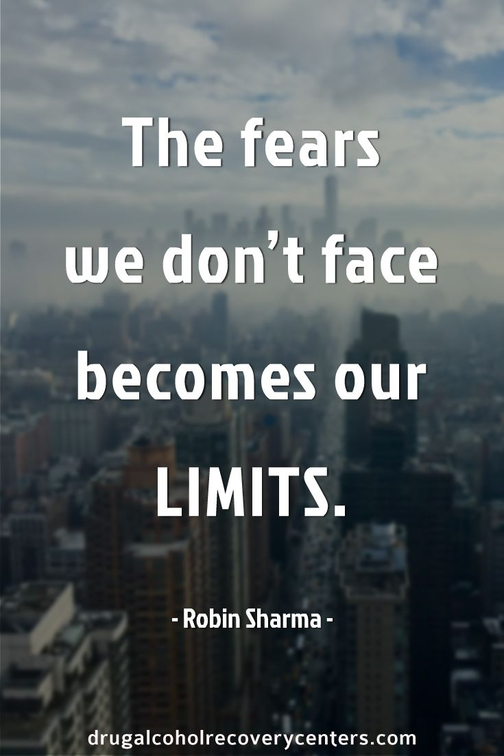 The fears we don't face becomes our limits.  Follow me: https://www.pinterest.com/BestofRehab/ for more Positive, Motivational and Inspirational Quote