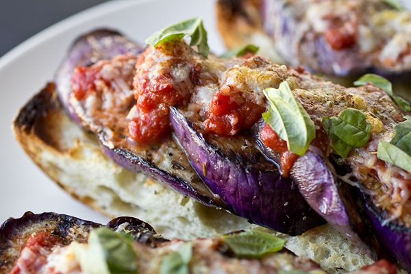 Grilled Eggplant Parmesan with Fiery, Red Wine Marinara on Crusty ...