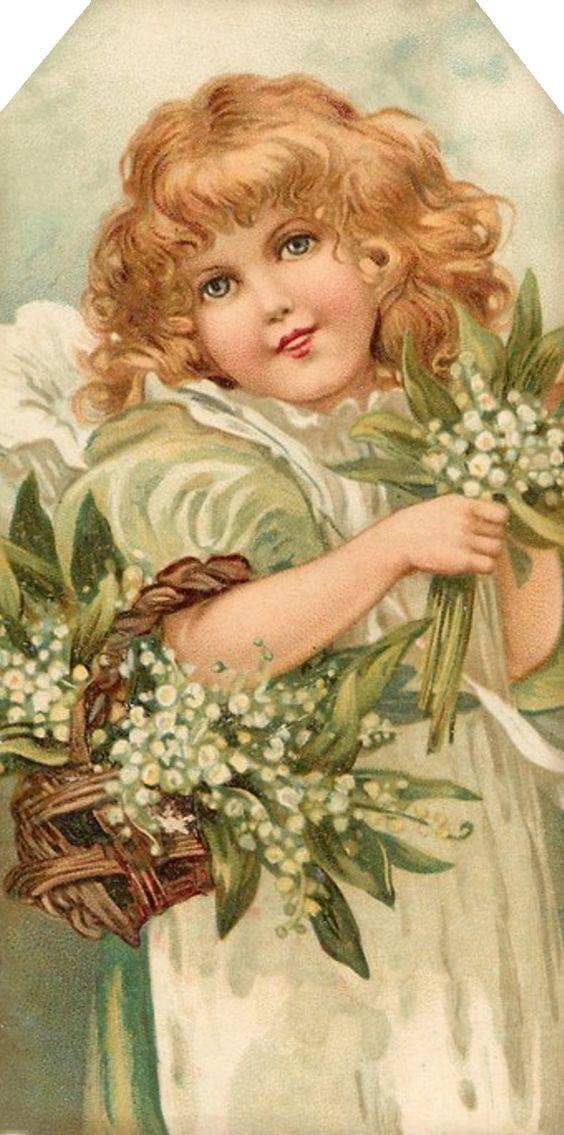 Винтажные открытки девушка с цветами, картинки подруга