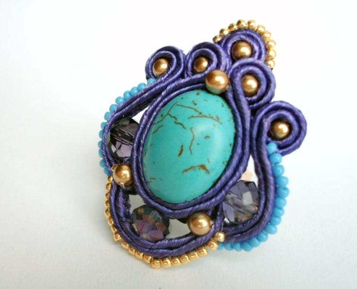 soutache turquoise & violet ring