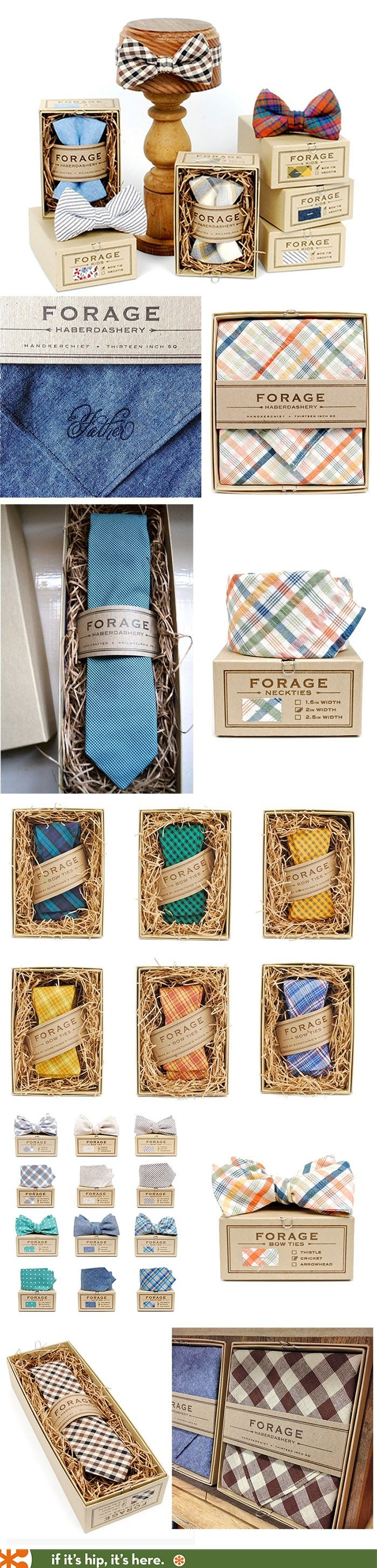 ties. Forage Haberdashery has beautiful 100% recycled packaging and they hand print each and every box and letterpress their own tags.
