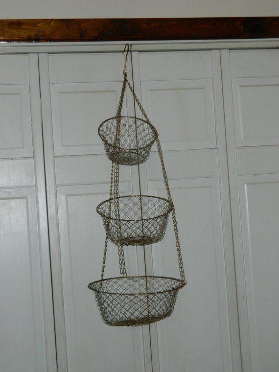 Vintage Hanging Basket 3 Tier Tiered Basket Fruit Basket Vintage Baskets Fruit Basket Hanging Fruit Baskets