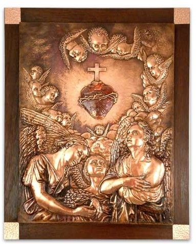 Sacred Heart of Jesus Fair Trade Christianity Wood Metallic Relief Wall Décor