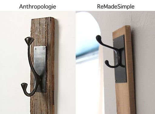 ReMadeSimple: Anthropologie Knock Off Rustic Wall Hook