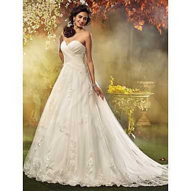 Wedding Dress A Line Court Train Tulle Sweetheart Bridal Gown With Appliques – USD $ 119.99