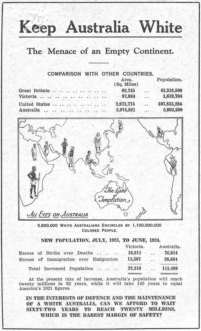 the immigration history of australia and the white australia policy 100 years ago australia defined itself as a white man's country the white australia policy of the late 19th and early 20th century was designed to reinforce that image and restrict migration to.