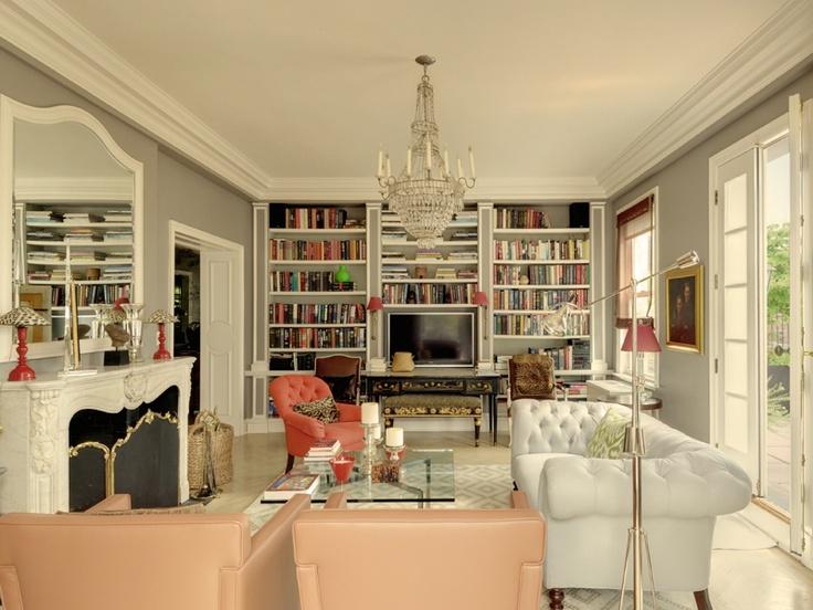 Beige And White Geometric Rug Grey Walls Trim Fireplace Book