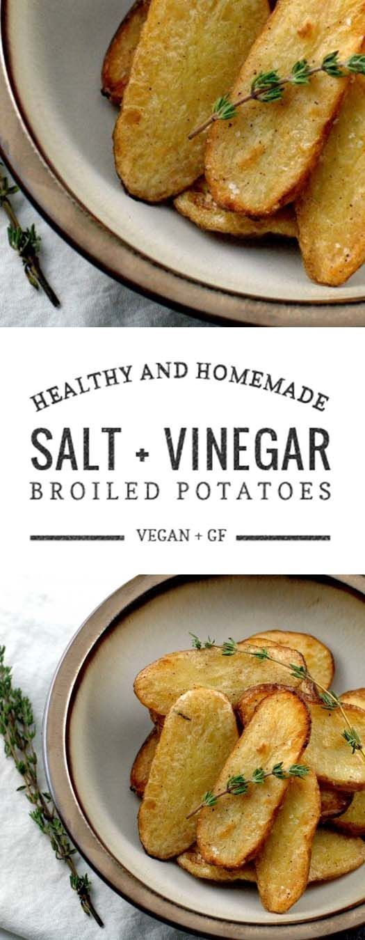 Fast, easy and highly addictive recipe for broiled fingerling potatoes with salt and vinegar adapted from Martha Stewart Living.
