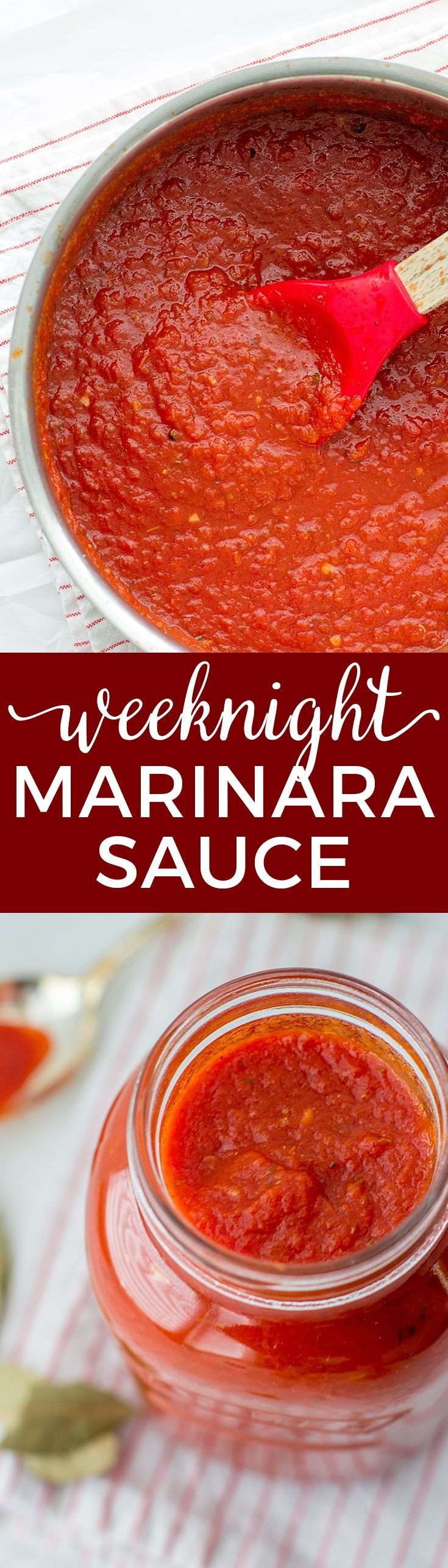 Simple weeknight marinara sauce is a quick dinner hero. Perfect for pizza, pasta, and more! via @nourishandfete