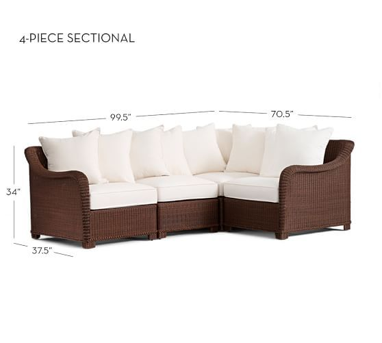 Palmetto All Weather Wicker 4 Piece Sectional Frame U0026 Cushion Set (1 Cnr +  1 Armless + 2 Arms), Honey