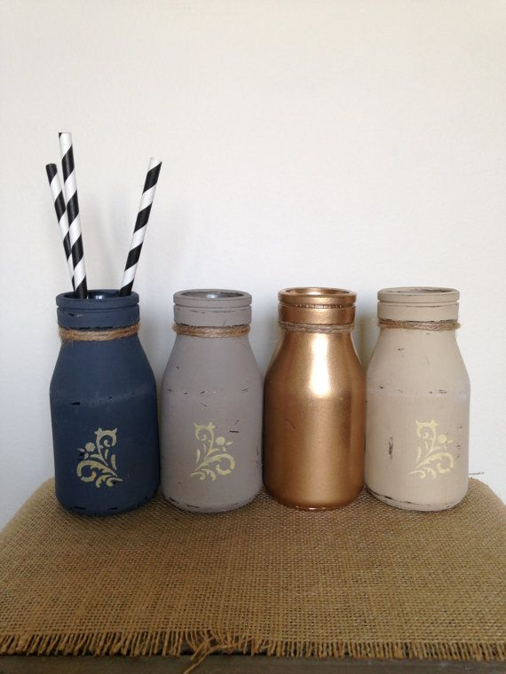 Set of 4 Rustic Bottles, Painted & Distressed Glass Milk Bottles, Wedding Decor, Glass Vase, Wedding Table, Home Decor