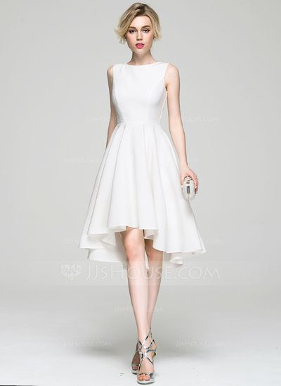 A-Line/Princess Scoop Neck Asymmetrical Zipper Up Regular Straps Sleeveless No 2016 Ivory Spring Summer Fall General Plus Satin Cocktail Dress